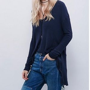 Free People || Sunset Park Thermal Tunic Navy XS
